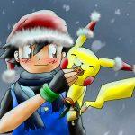 Dibujo de Ash y Pikachu navideño