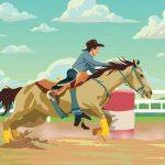 Caballo y Cowboy en carrera de barriles a todo color