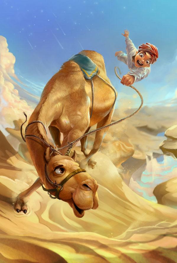 Camello y camellero niño animado para imprimir