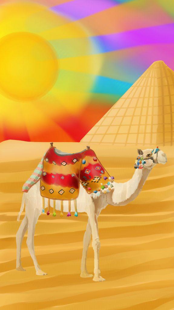 Dibujo de Camello y Piramide en el desierto