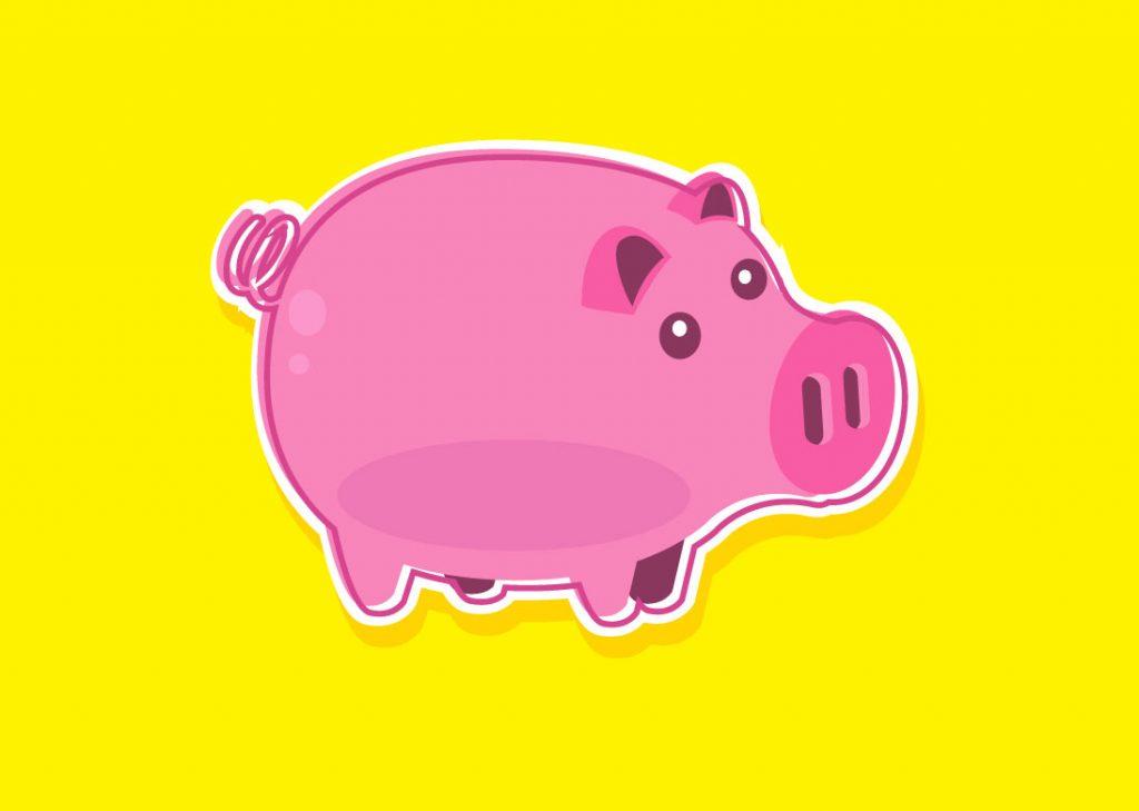 Dibujo de un Cerdo infantil color rosa