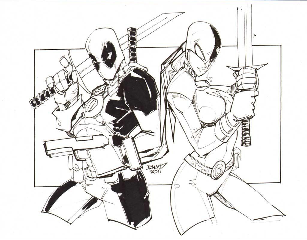 Dibujo de Deadpool y Ravager para pintar