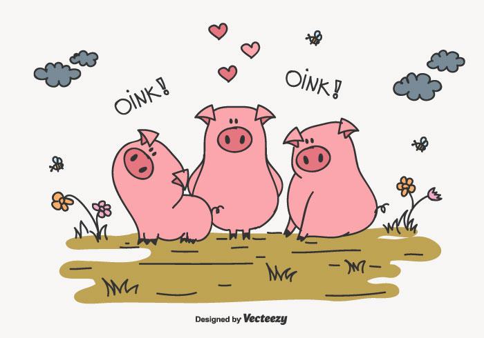 Dibujo de una Familia de cerdos