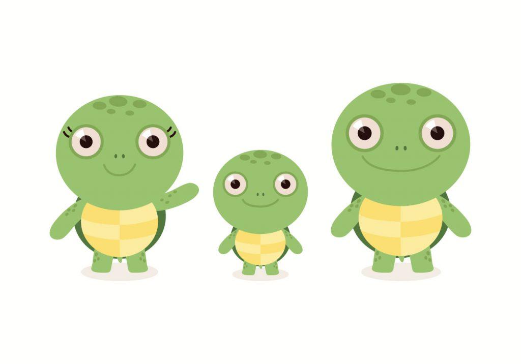 Dibujo de Familia de Tortugas infantiles
