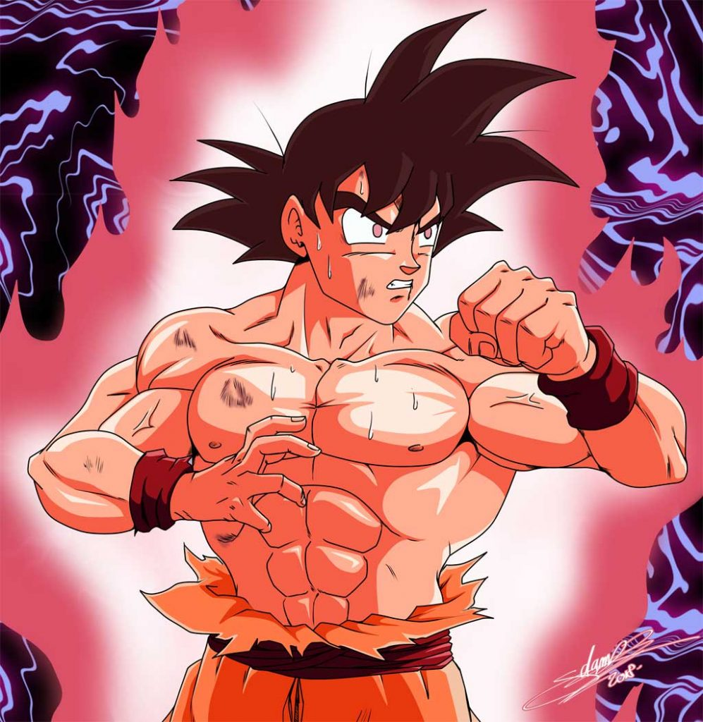 Dibujo de Goku haciendo Kaio-ken
