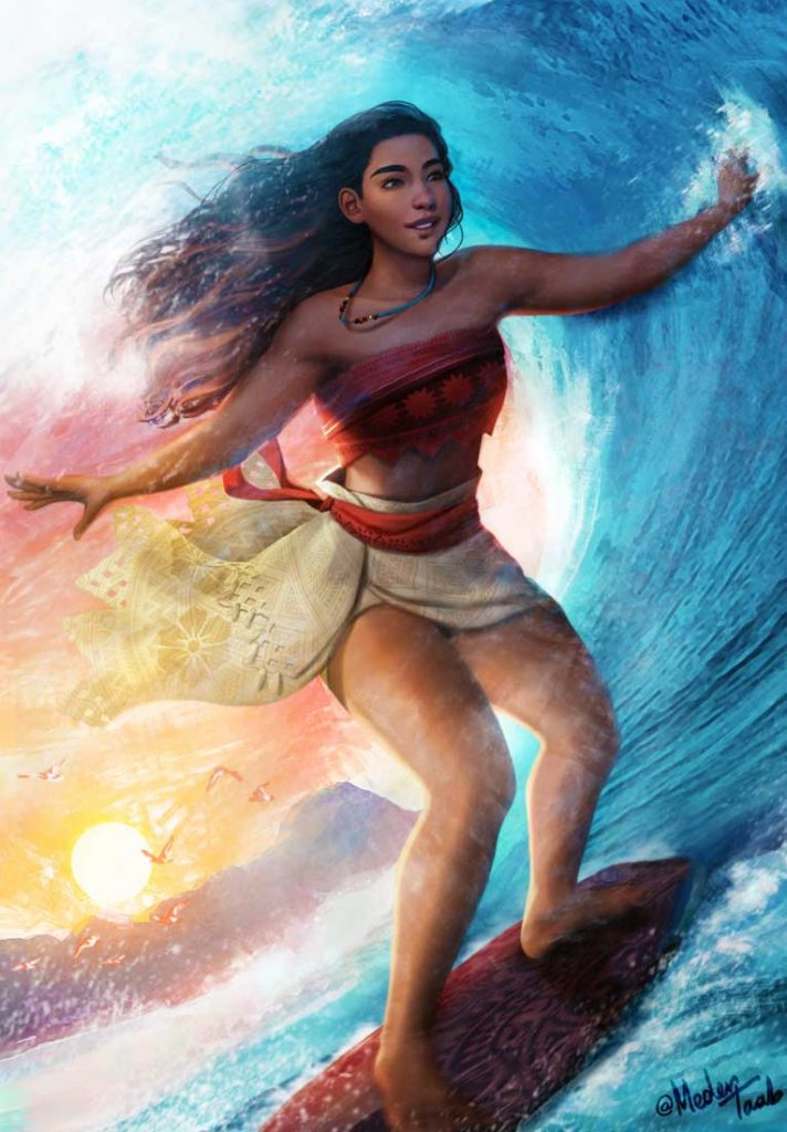 Dibujo de Moana haciendo Surf para imprimir