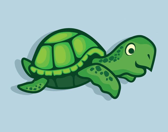 Dibujo de Tortuga joven nadando