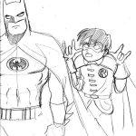Dibujo de Batman y Robin a lapiz para colorear