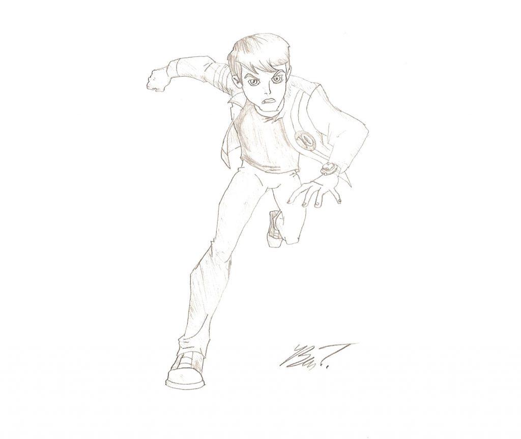 Dibujo de Ben 10 a lapiz para pintar