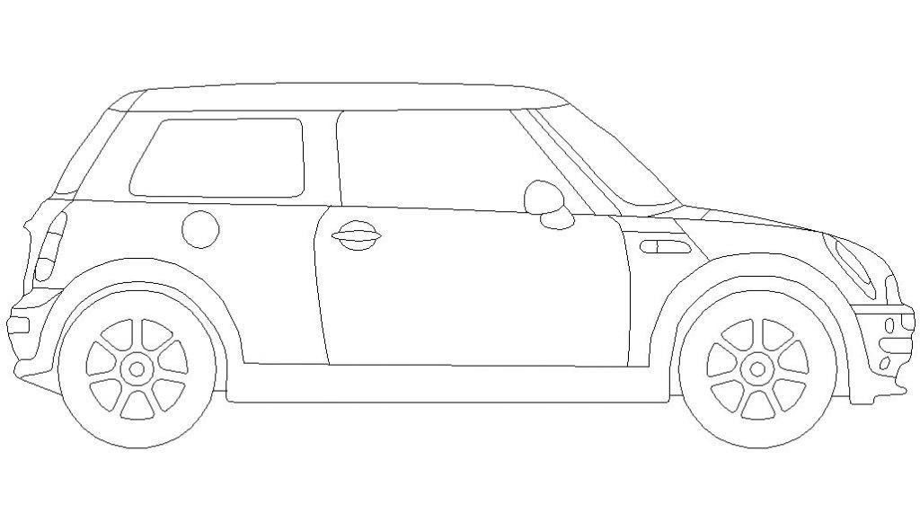 Dibujo de auto Mini Cooper