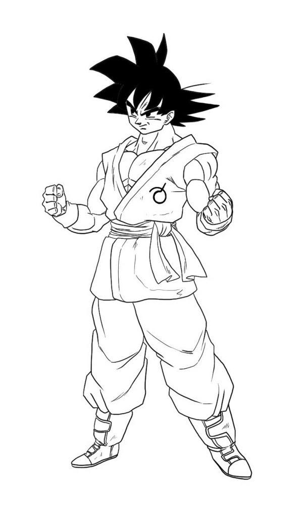 Dibujo de Goku Fase Normal para Pintar