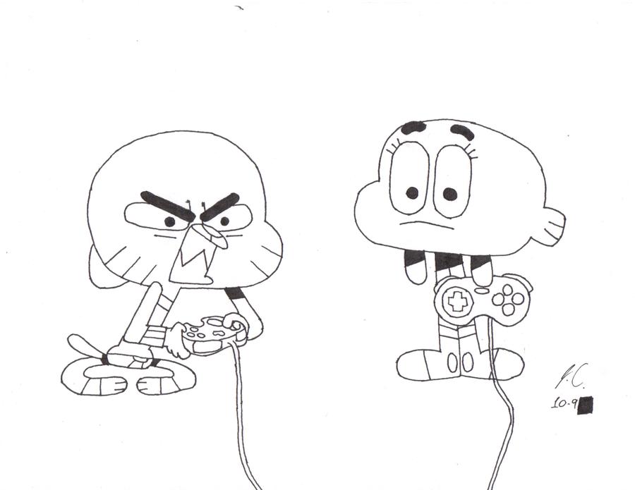 Dibujo de Gumball y Darwin fácil para colorear