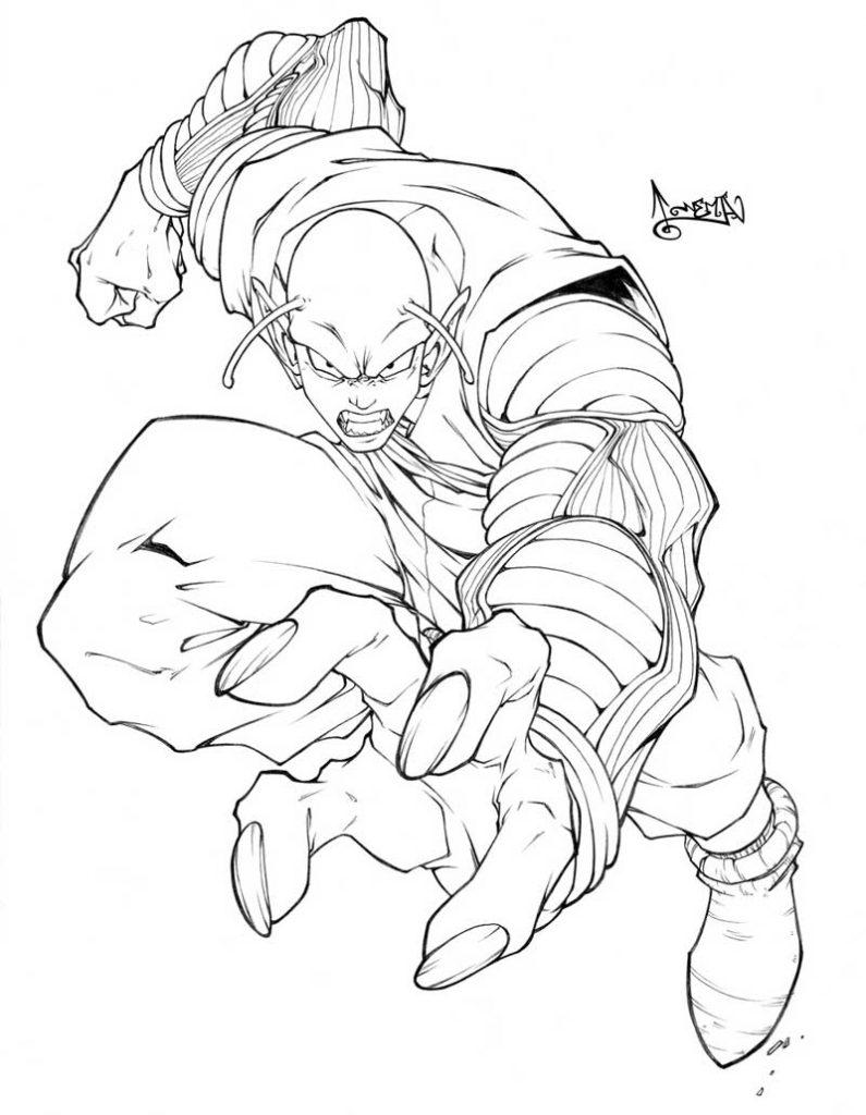Dibujo de Piccolo enojado para pintar