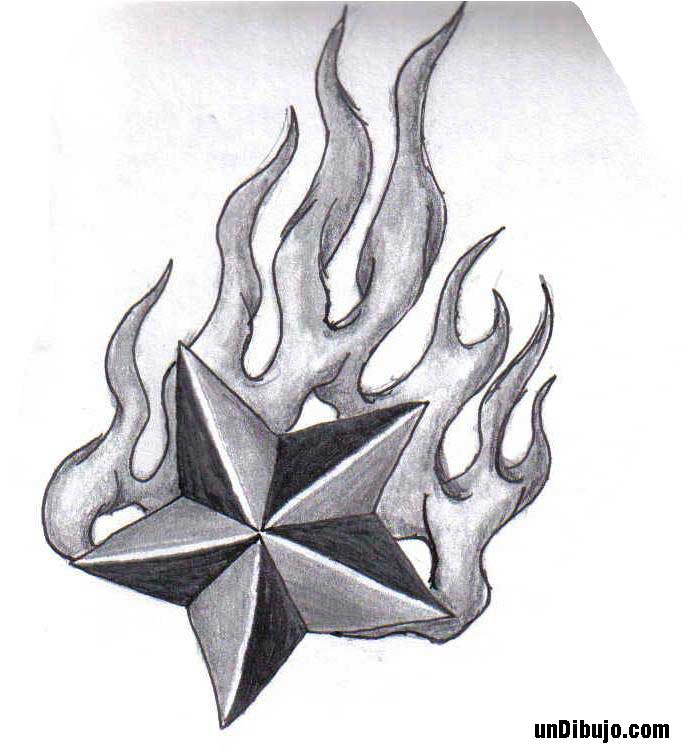 Estrella fugaz dibujada a lapiz