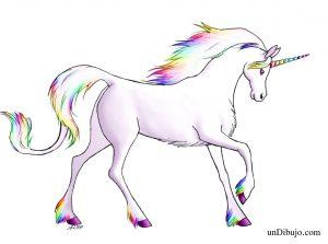 Dibujo de Unicornio a Lapiz con colores arcoiris