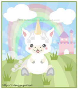Dibujo de Unicornio Infantil Feliz
