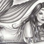 Dibujo de una Sirena a Lapiz