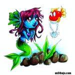 Dibujo de Sirena azul