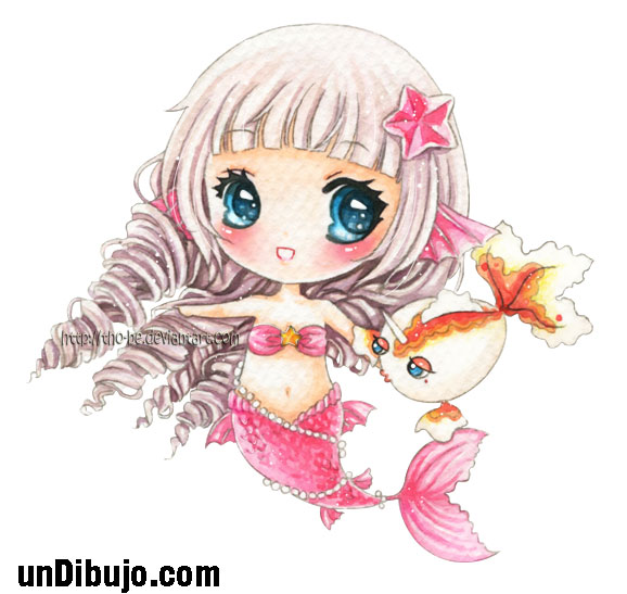 Colorida Sirena kawaii tierna