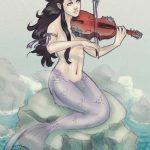 Sirena con su instrumento violin
