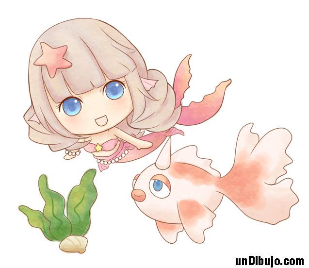 Sirena y Pez Kawaii a color