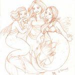 Tres Sirenas a lapiz para pintar