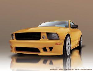auto lujoso amarillo