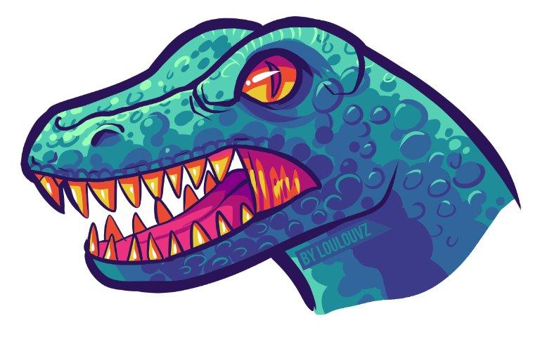 Cabeza de dinosuario azul