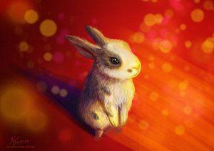 conejo marron con fondo a color