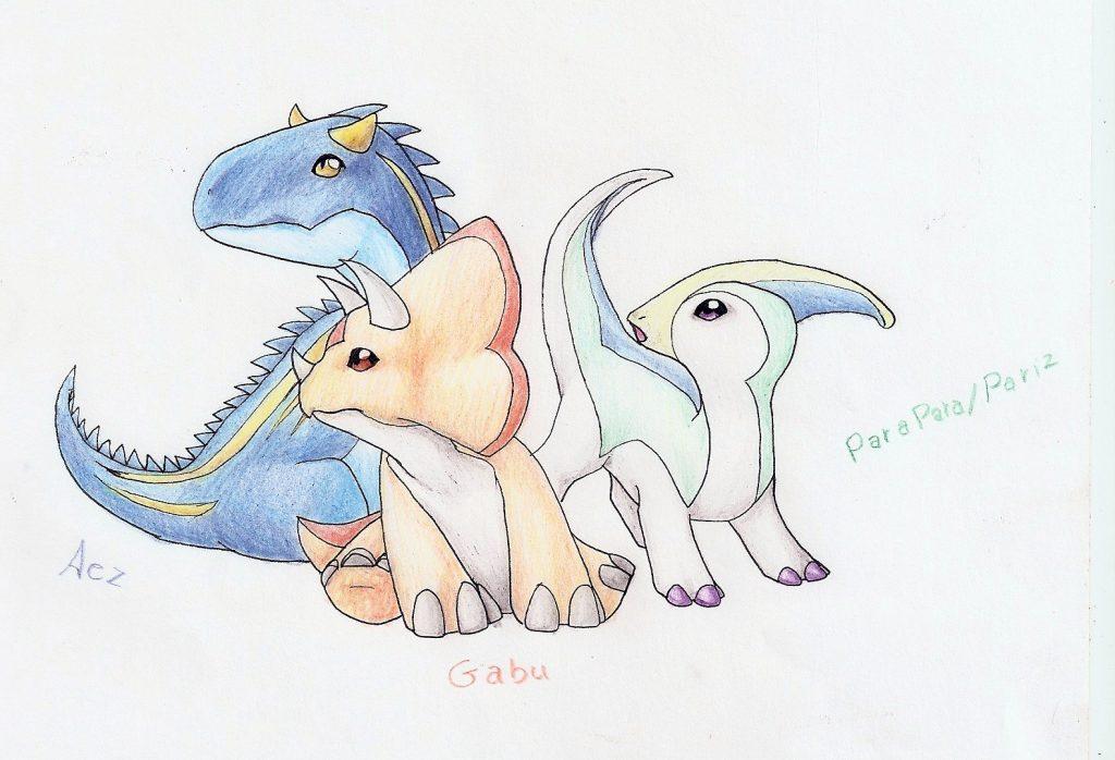 Dinosaurios a lapiz de color