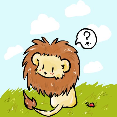 leon infantil pensativo