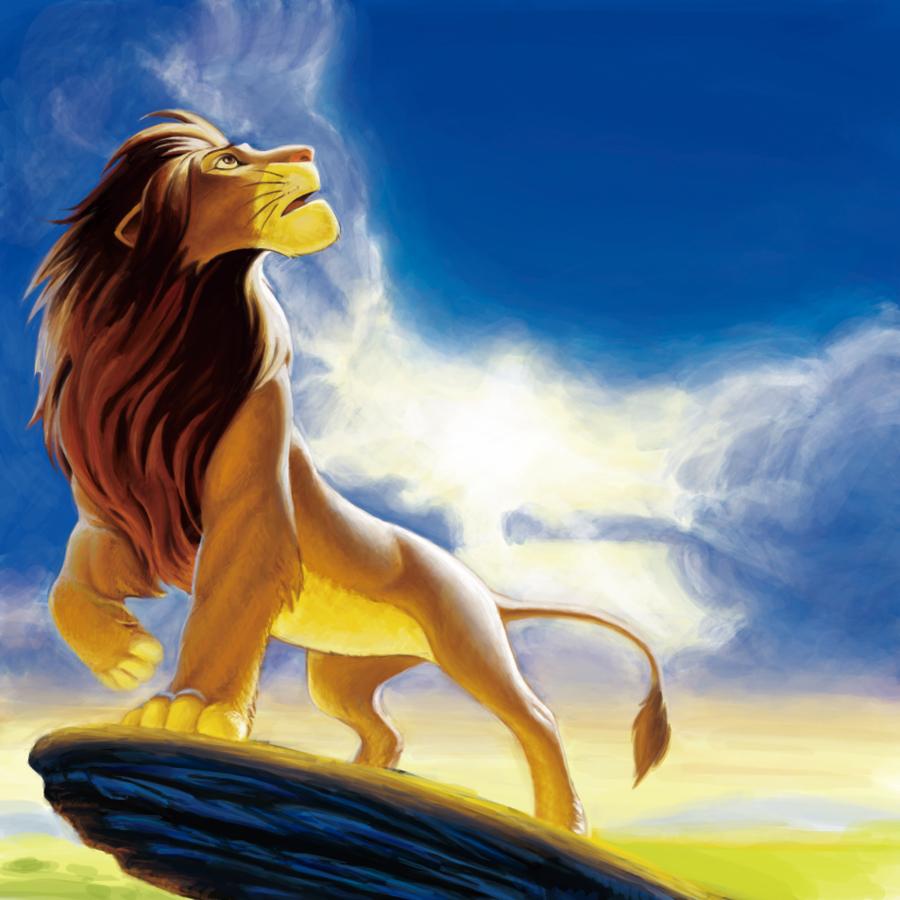 Un gran dibujo del Rey leon mirando el cielo para imprimir